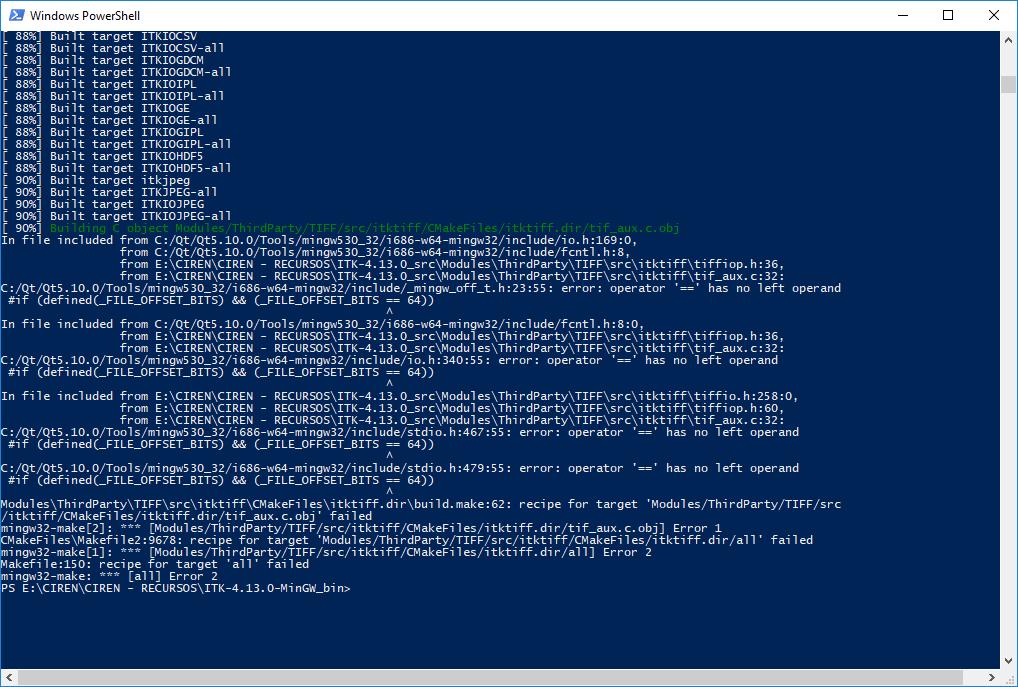 Error in ITK compilation with wingw32-make - Beginner